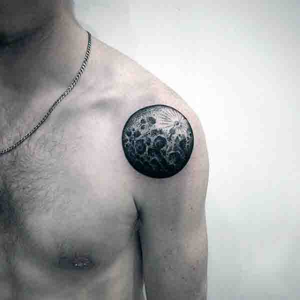 Male Full Moon Tattoos On Shoulder