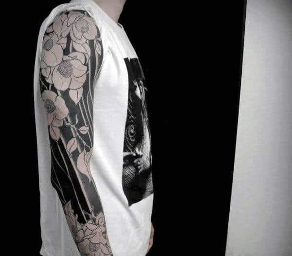 Male Full Sleeve Black Floral Design Tattoo