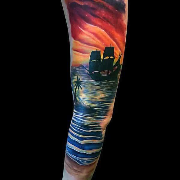 Male Full Sleeve Ship Sailing At Sunset Tattoo