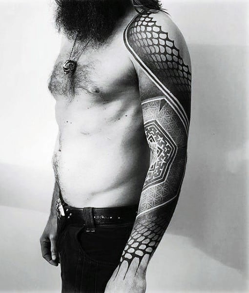 Male Full Sleeves Black And Grey Pattern Tattoo