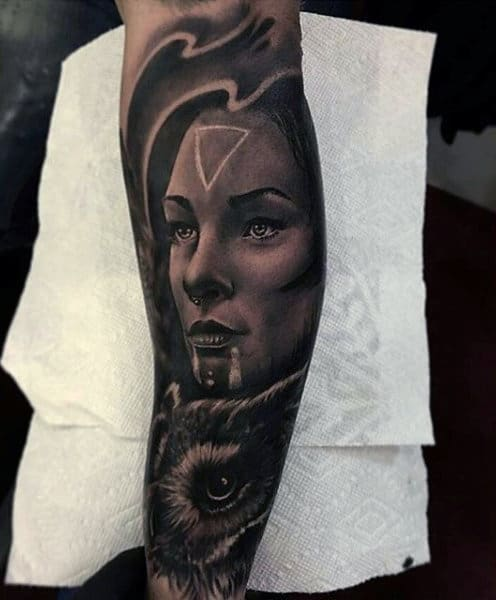 Male Full Sleeves Black And White Hunter Lady Tattoo