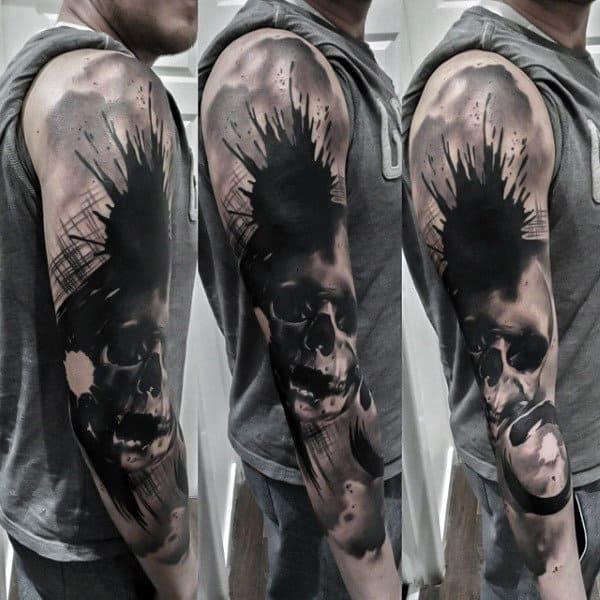 Male Full Sleeves Black Blast And Skull Manly Tattoo