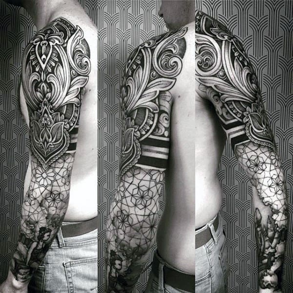 Male Full Sleeves Black Dark Pattern Tattoo