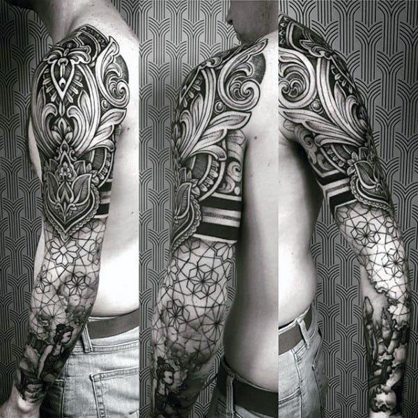 Male Full Sleeves Black Dark Pattern Tattoo