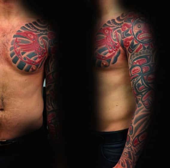 Male Full Sleeves Classic Haida Tattoo