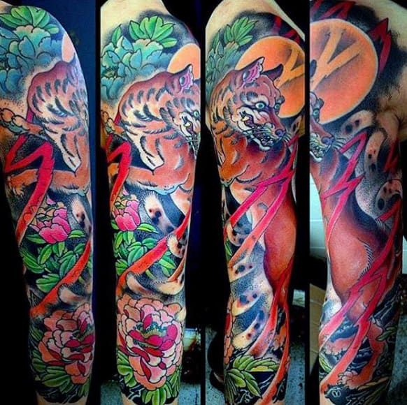 Male Full Sleeves Colorful Fox And Flower Tattoo