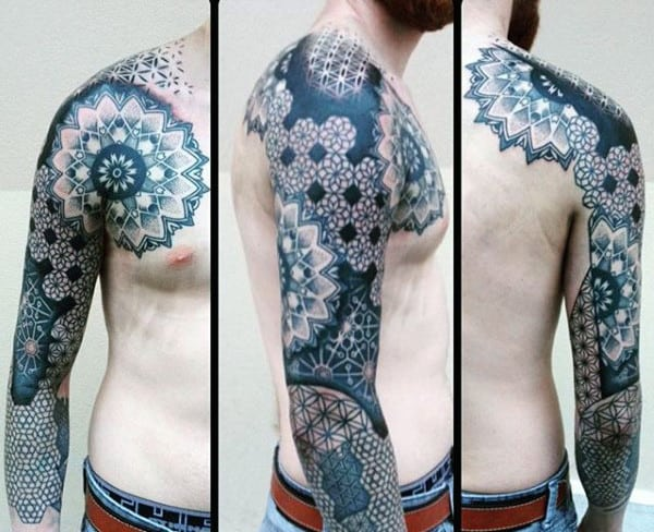 Male Full Sleeves Fantastic Pattern Tattoo