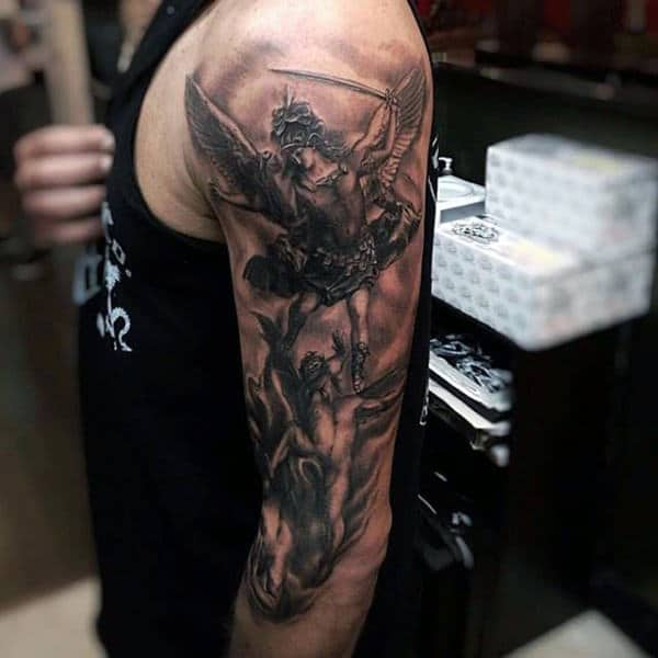 Male Full Sleeves Heavenly Beings Tattoo