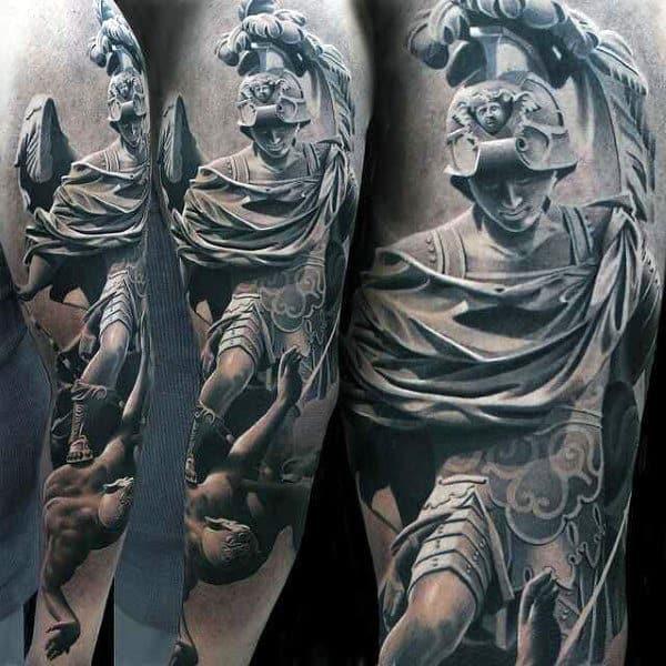Male Full Sleeves Hro Killing Evil Realistic Tattoo
