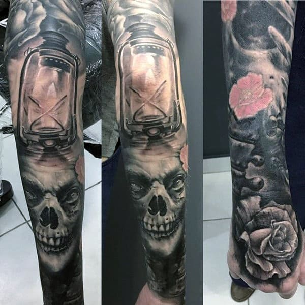 Male Full Sleeves Lantern And Skull Tattoo Black And White