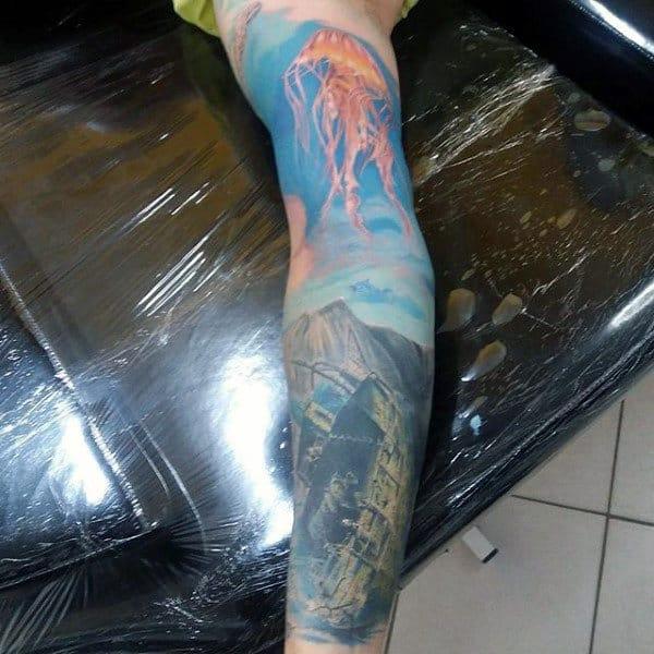 Male Full Sleeves Lightening Realism Tattoo