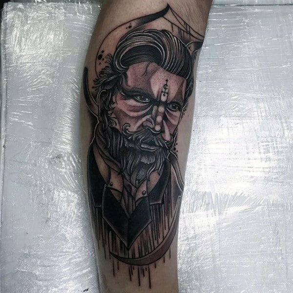 Male Full Sleeves Manly Grey Tattoo
