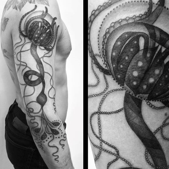 Male Full Sleeves Monochrome Jellyfish Tattoo