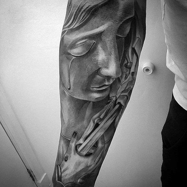 Male Full Sleeves Religious Tattoo