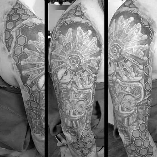 Male Full Sleeves Rotary Engine Tattoo