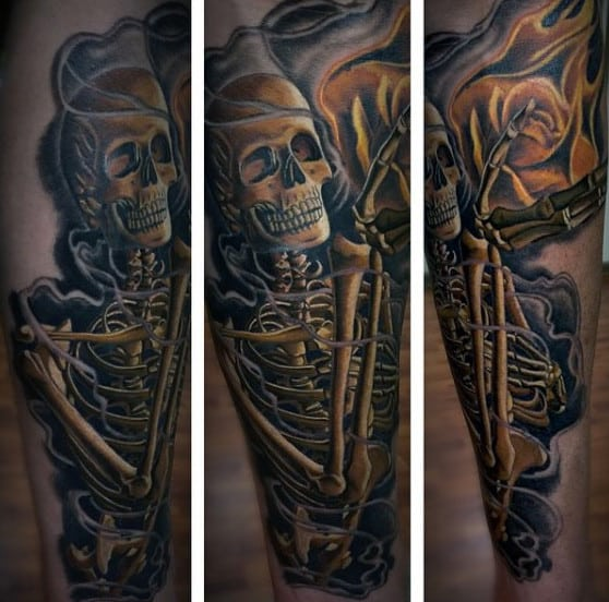 Male Full Sleeves Skull And Fire Manly Tattoo
