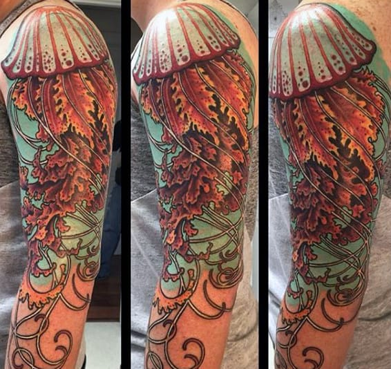 Male Full Sleeves Spectacular Jellyfish Tattoo