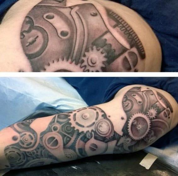 Male Full Sleeves Wonderful Steampunk Tattoo