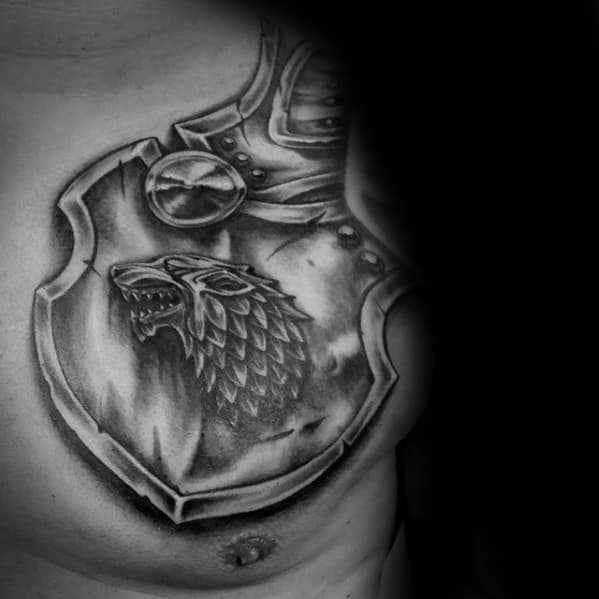 Male Game Of Thrones Armor Plate Shoulder And Chest Tattoo Designs