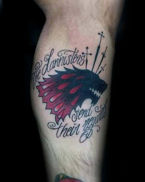 Male Game Of Thrones Dire Wolf Leg Tattoo