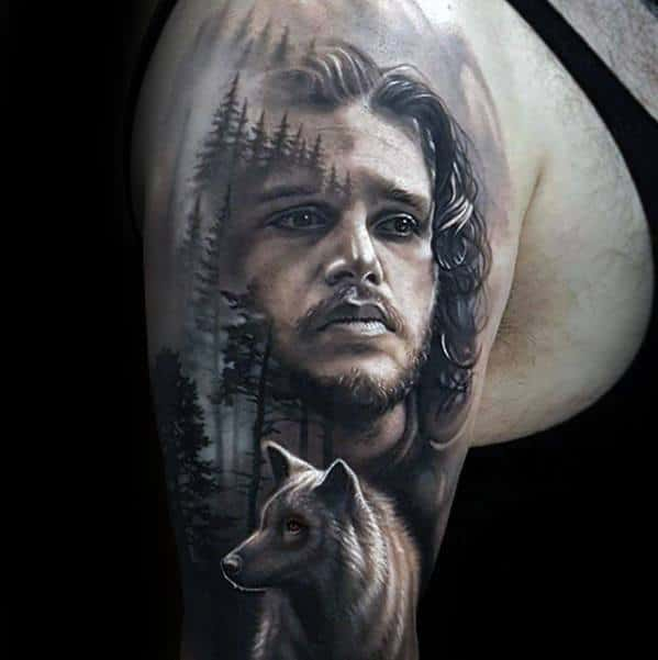 Male Game Of Thrones Half Sleeve 3d Tattoo Design Inspiration