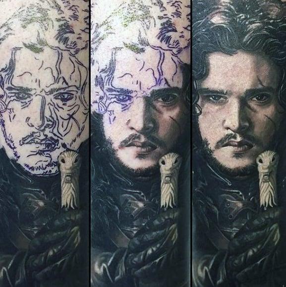 Male Game Of Thrones Jon Snow Arm Sleeve Tattoos