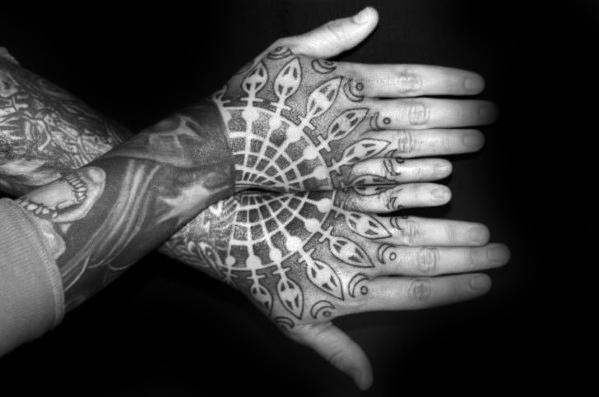 40 geometric hand tattoos for men pattern design ideas