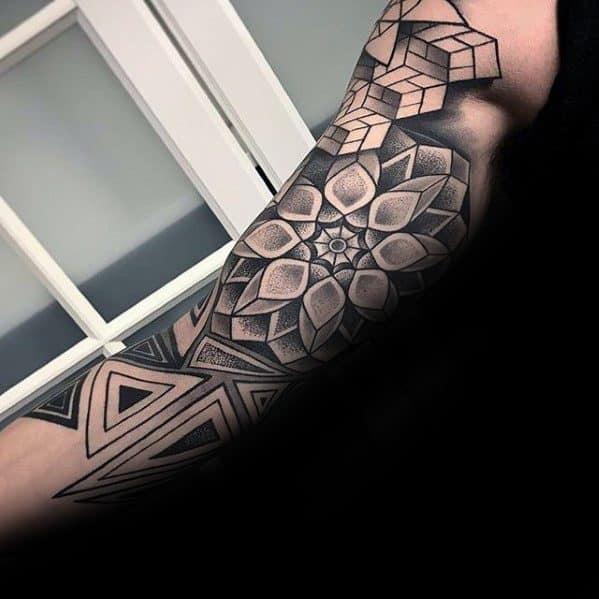 Pattern Ideas For Sleeve Tattoo: 50 Geometric Tattoo Sleeve Designs For Men