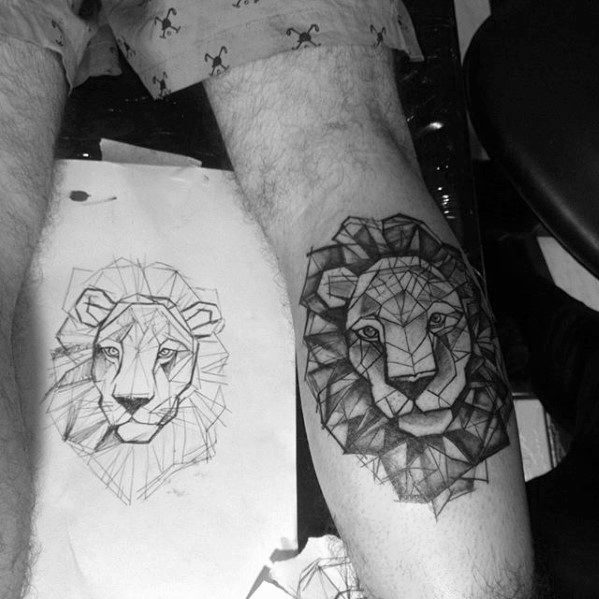 Male Geometric Leg Calf Lion Tattoo Design Inspiration