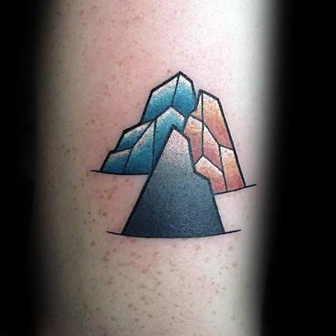 Male Geometric Mountain Tattoo Ideas