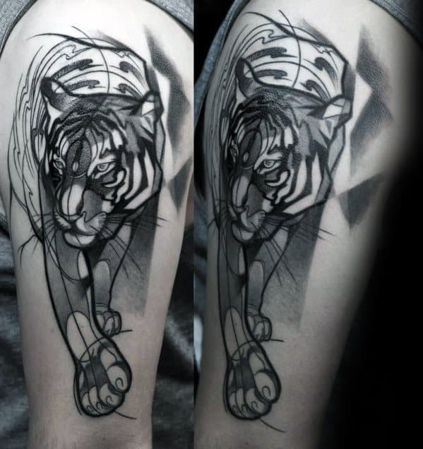 Male Geometric Tiger Tattoo Design Inspiration