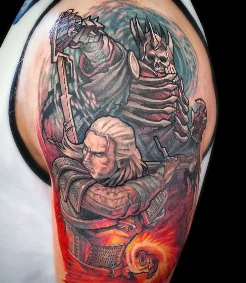 Male Geralt Themed Tattoo Inspiration