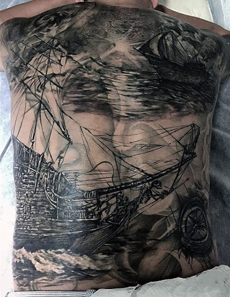Male Ghost Ship Tattoos On Back