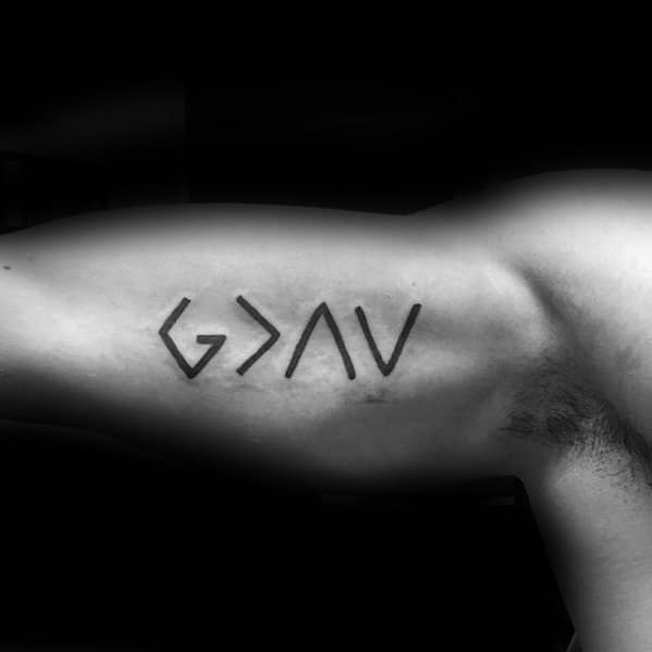 Male God Is Greater Than The Highs And Lows Tattoo Ideas On Bicep Of Inner Arm