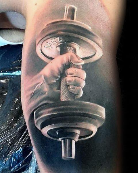 Male Great 3d Dumbell Weightlifting Tattoo Ideas On Inner Arm Bicep