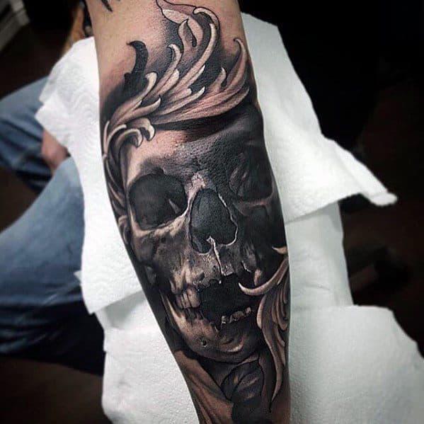 Male Great Ornate Skull Leg Tattoo Design Inspiration