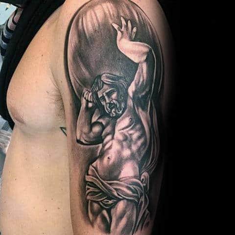 Male Greek Mythology Atlas Upper Arm Shaded Tattoos