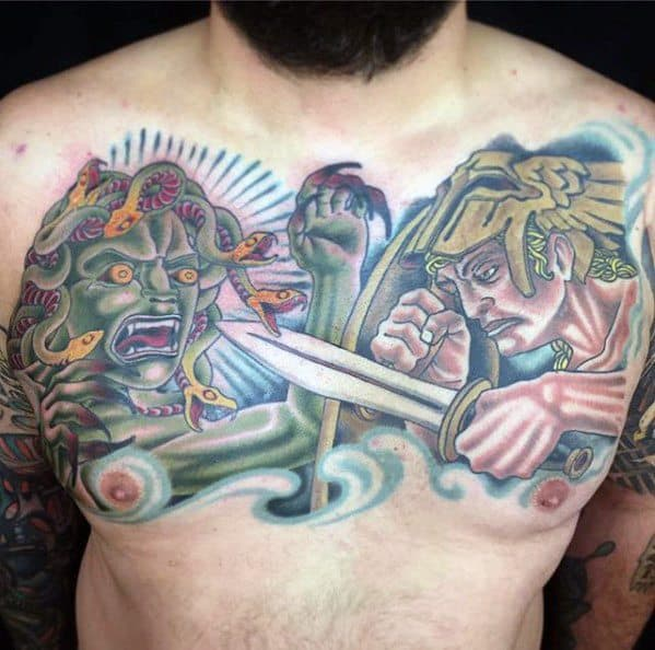 Male Greek Mythology Perseus Upper Chest Tattoo Ideas