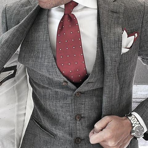 Male Grey Suit Red Dot Tie Clothing Styles