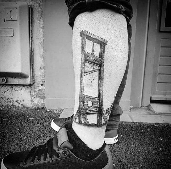 Male Guillotine Tattoo Design Inspiration