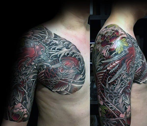 Male Half Sleeve And Chest Japanese Cover Up Tattoo Designs
