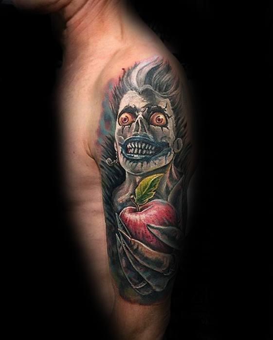 Male Half Sleeve Death Note Tattoo Design Inspiration