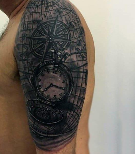 Male Half Sleeve Pocket Watch On Grid Tattoo