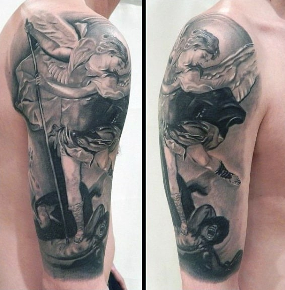 Male Half Sleeve Saint Micheal Tattoo
