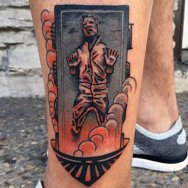 Male Han Solo Frozen Tattoo Design Inspiration On Lower Leg