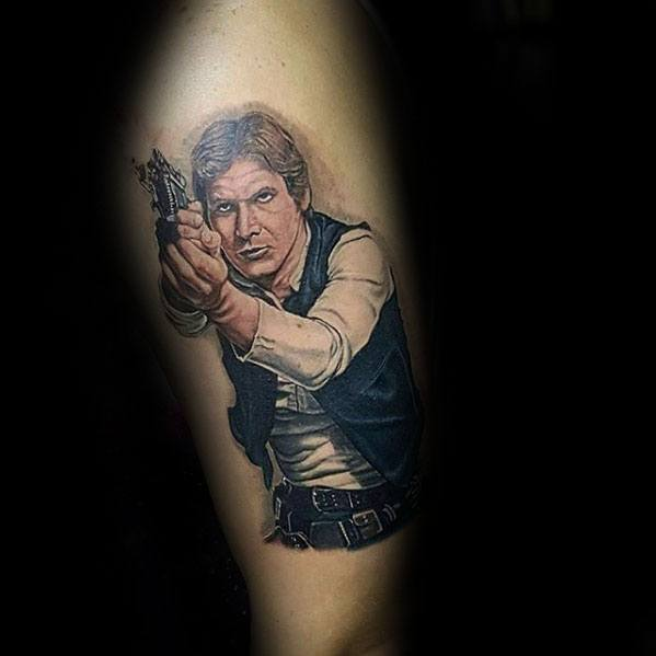 Male Han Solo Tattoo Ideas On Thigh