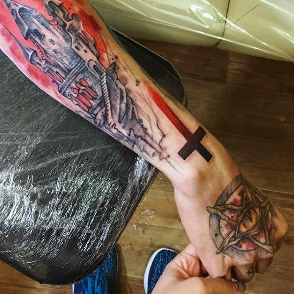 Male Hands Amber Eyed Pentagram Tattoo