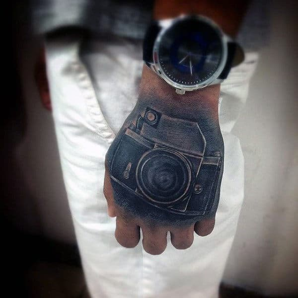 Male Hands Camera Tattoo