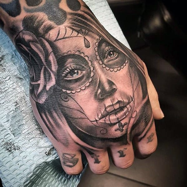 Male Hands Day Of The Day Girl Face Tattoo