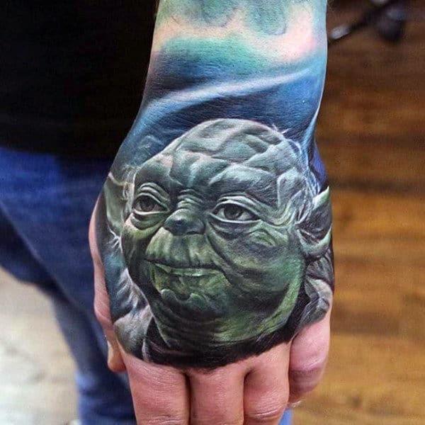 Male Hands Realistic Alien Face Tattoo